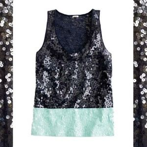 J. Crew colorblock tank top sequins navy blue mint